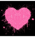 grunge heart on black background vector image