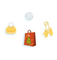 knitted hat mittens snowflake shopping bag vector image