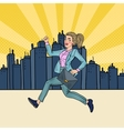Pop Art Running Business Woman with Briefcase vector image