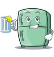 with juice cute refrigerator character cartoon vector image