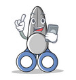 with phone scissor character cartoon style vector image