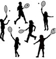 Silhouettes of children playing tennis vector image