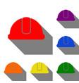 hardhat sign set of red orange yellow green vector image