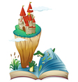 An open book with an image of a castle in an vector image vector image