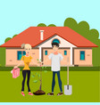 man and girl plant tree in courtyard vector image