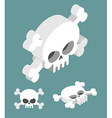 Skull isometric set Head of skeleton and vector image