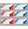 Red and blue sale banners with ribbons vector image vector image