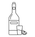 a glass of wine with bottle and lemon vector image