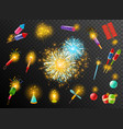 firework crackers pyrotechnic dark background vector image