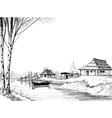 Fishing village sketch vector image