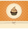 Funny card invitation with a cupcake and place vector image
