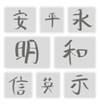 icons with Chinese hieroglyphs vector image