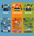 police firefighter and military profession banner vector image