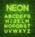 realistic neon alphabet bright neon glowing font vector image