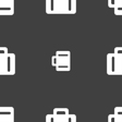 suitcase icon sign Seamless pattern on a gray vector image