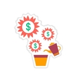 paper sticker on white background Money Tree vector image