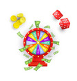 flat casino chips wheel of fortune cubes vector image vector image