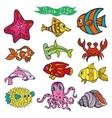 Cartoon Funny Fish Sea Life Colored Doodle vector image