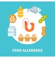 Food Allergy Triggers or Allergens vector image