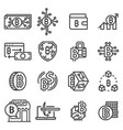 line bitcoin icons set vector image
