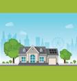 private suburban smart home with sun solar module vector image