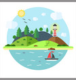 vacation in the sea with lighthouse hill tree vector image