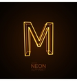 Neon 3D letter M vector image