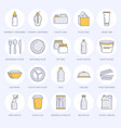 plastic packaging disposable tableware line icons vector image