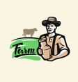 farmer with milk vector image vector image