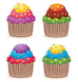 color cupcakes vector image vector image