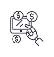 robot hand tablet with money artificial vector image