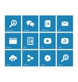 Web icons on blue background vector image