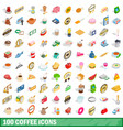 100 coffee icons set isometric 3d style vector image