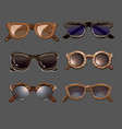 trendy fashionable hipster sunglasses set vector image