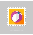 Beach Ball flat stamp with long shadow vector image