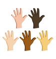 different color hands ethnicity hands symbol flat vector image