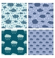 Rainy weather seamless patterns set vector image