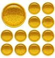 Set golden buttons with patterns vector image