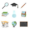 set of schools supplies from students backpack vector image