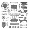 vintage watercolor design elements set vector image