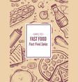 fast food restaurant vintage menu design vector image