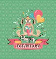 vintage birthday greeting card with a hare vector image