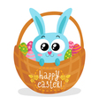 Easter greeting card with bunny in basket vector image