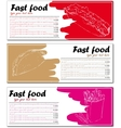 Fast food menu cards with hot dog taco and french vector image