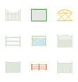 fence icons set cartoon style vector image
