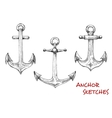 Vintage isolated admiralty anchors sketches vector image