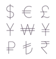 Set of thin currency signs vector image
