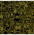 Thin Line Gold Black Happy Easter Seamless Pattern vector image