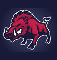 angry of wild hog mascot vector image