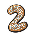 christmas gingerbread cookie - two 2 number vector image